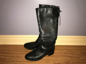 Geox Black Leather Boots, Size 7.5-8
