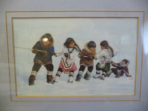 """Inuit Painting by Dorothy Francis """"Winning Side"""" Lithograph Stratford Kitchener Area image 2"""