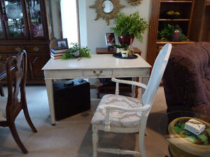 Beautiful and Distressed Antique Desk and Cane Back Chair