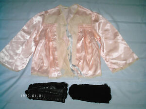 Vintage Ladies Bed Jacket and Fur covered Leather Mitts 1940's