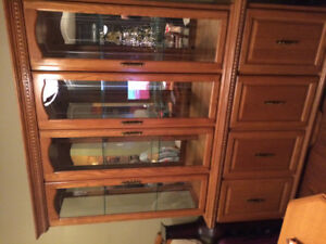 Solid Oak Table and Hutch
