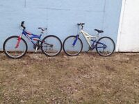 Two mountain bikes ( for kids or small adult)