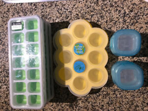 Baby food/purée freezer trays + oxo tot containers w/lids
