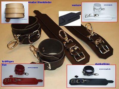1 Paar Handfesseln und 1 Paar Fußfesseln schwarz aus Echtem Leder im Set Neu