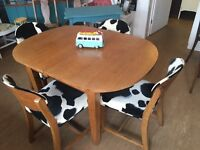 Solid Oak Extending Retro 1970s Table & 4 Reupholstered Chairs - Can Deliver