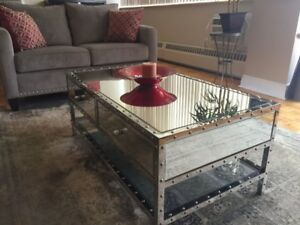 Moving Sale! Gorgeous mirrored coffee table with drawers