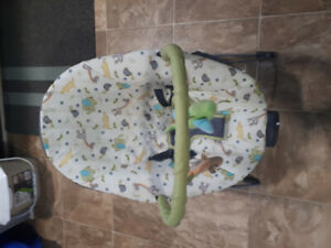 Baby bouncer seat and baby bathtub.