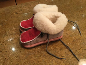 Leather Suede Kids Moccasins Made in Canada by Prevost - Medium