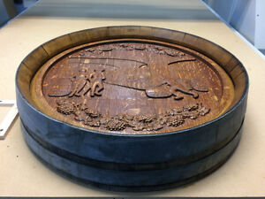 Carved on Oak Wine Barrel Top  - Wall Hanging Strathcona County Edmonton Area image 7