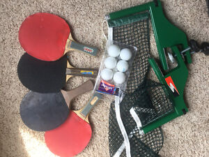 Ping pong table and accessories