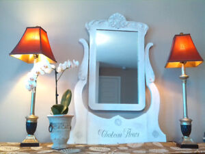 Romantic White Chalk Painted Mirror-Very French