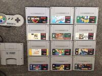Snes Super Nintendo games x12 & official pad & Gameboy converter
