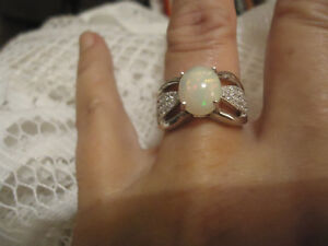 Gorgeous!! Sterling Silver Opal & Cubic Zirconia Ring!!