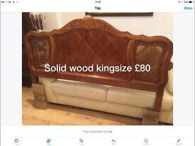 Carved wood kingsize headboard