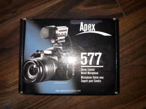 Apex 577 stereo camera mount microphone/also works with phones