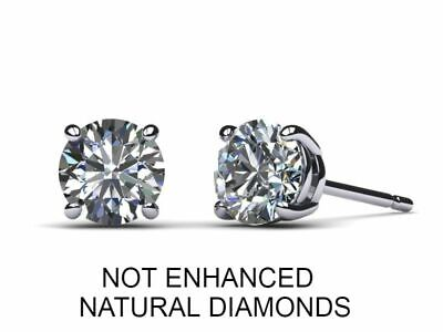 2 CARAT D SI1 Real 100% Natural Diamond  Round Cut Stud Earrings 14k White Gold