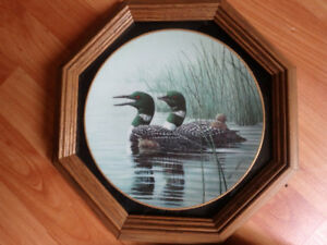 """Collector Plate """"Keeping them Safe"""" Dominion China Loons"""