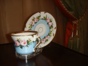 ANTIQUE CUP AND SAUCER  -  CIRCA 1840