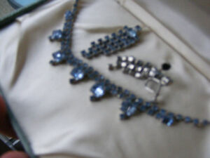 blue rhinestone necklace and earring set