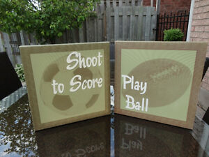 Pair of Kids Sports Pictures for the bedroom or playroom