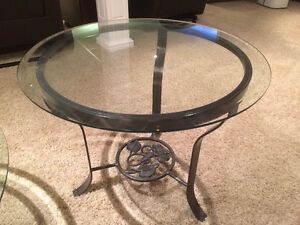 Matching Round Glass Coffee & End Table With Cast Iron Base