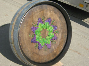 Carved on Oak Wine Barrel Top  - Wall Hanging Strathcona County Edmonton Area image 2