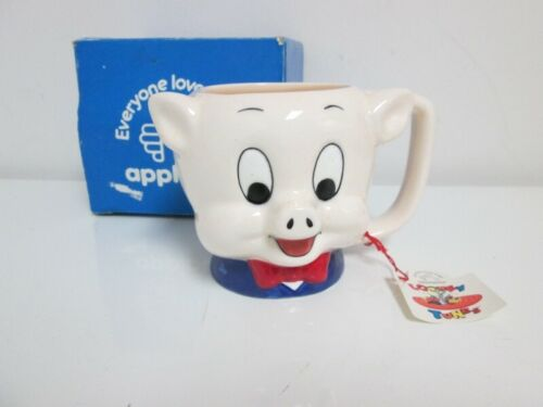 1989 Applause Warner Bros Looney Tunes Porky Pig Ceramic Coffee Cup Mug