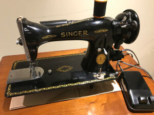 Singer 15-91 Sewing Machine Gear Drive & Table Excellent Shape