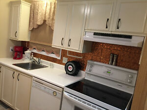 Armoires, comptoir, robinetterie et hotte de cuisinière