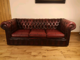 Three seater leather Chesterfield Club sofa