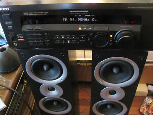 Used All Black Sony Receiver & Reference Audio Tower Speakers