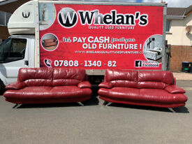 3&2 seater sofa in red leather Hyde throughout on chrome feet £245
