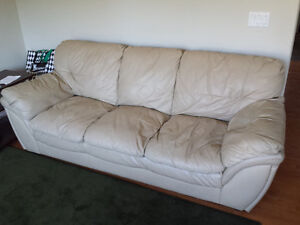 Cream Leather SOFA and LOVESEAT
