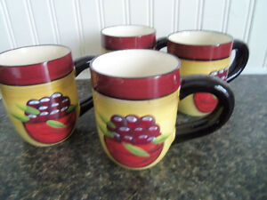 Stunning hand painted mugs -- never used --lovely colors, large! London Ontario image 1