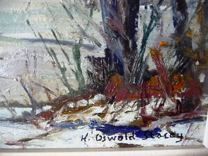 """Original Oil Painting, H. Oswald Stacey  OCA """"January Thaw"""" 1945 Stratford Kitchener Area image 6"""
