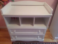 Baby changing table with double draw cabinet. $120