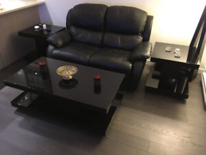 Leather Reclining Loveseat With 3 Tables - $500 (Vancouver-Colli