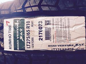NEW Kumho Road Venture LT275/65R18 all season with snow logo.