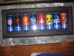 World Cup of Hockey 2016 Pepsi Cans in Display Case