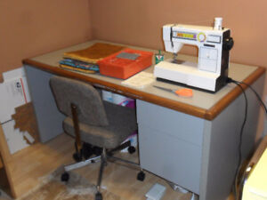 Sewing Machine, Table, and Material
