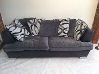 3 seater black, sliver and grey scatterback sofa