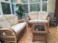 Cane furniture set with table