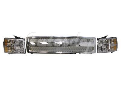 FOR SILVERADO 1500 NEW STYLE 2007-2013 GRILLE ALL CHROME HEADLIGHT W/BULB 3PCS