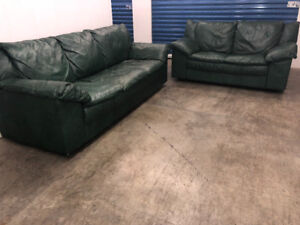 Green leather COUCH Set - Delivery