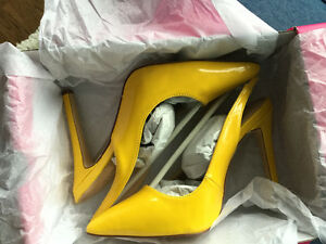 Two Sling Back Pumps-Yellow and Pink