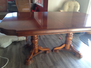 Dining room table with leaf, 6 chairs, and China cabinet