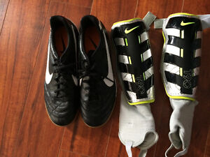 Indoor soccer shoes and shin pads