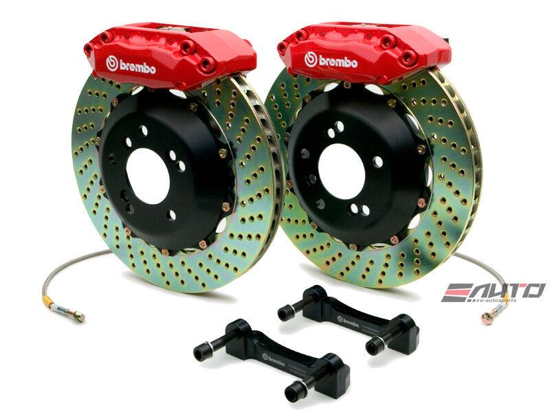 Brembo Front Gt Brake Bbk Kit 4 Piston Red 328x28 Drill Rsx Dc5 02-06