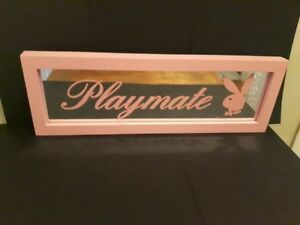 Pink Wooden Playboy Playmate Mirror with Bunny Image