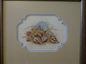 2 framed handmade SHELL cross-stitch pictures